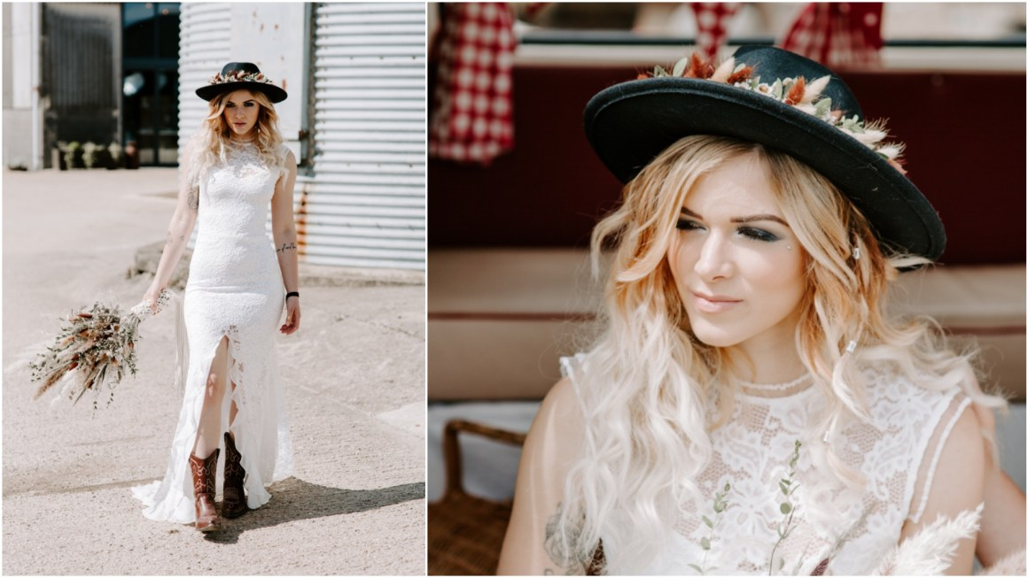 Bride wearing a lace gown and hat