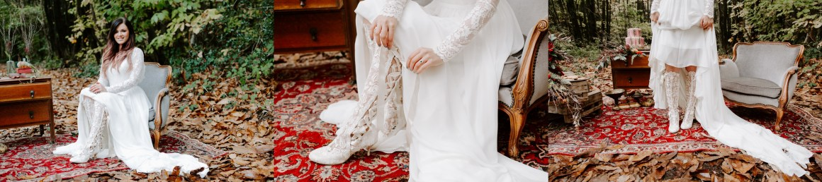 Lace knee high wedding shoes from House of Elliot