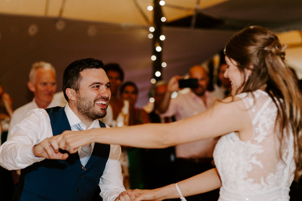 Bride and groom first dance at Tipi wedding venue