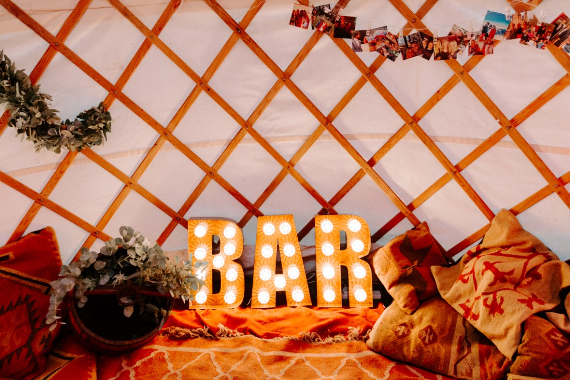 Bar snug area with LED Bar sign