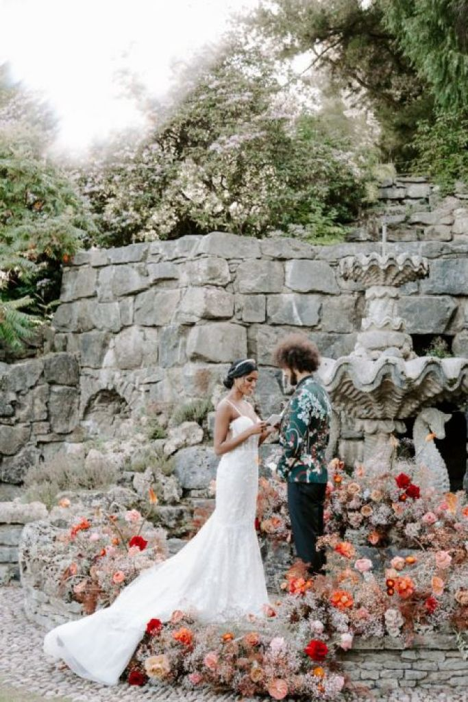 A colourful outdoor wedding ceremony in Shropshire