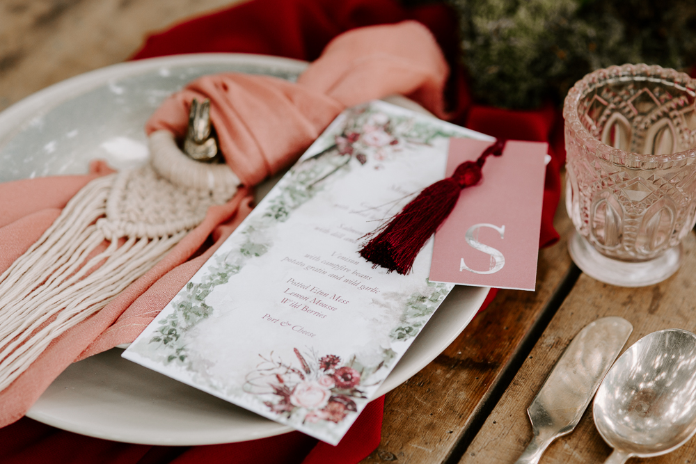 Rose and blush wedding stationery