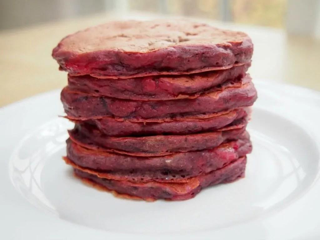 Beetroot and pear pancakes aka pink pancakes
