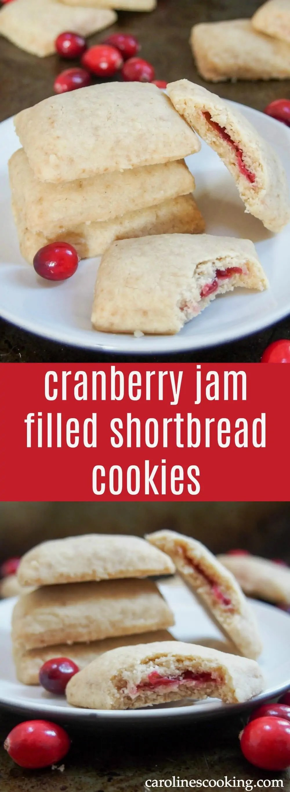 These cranberry jam filled shortbread cookies take a traditional recipe up a step - melt in your mouth cookies with a delicious sweet filling. So good.