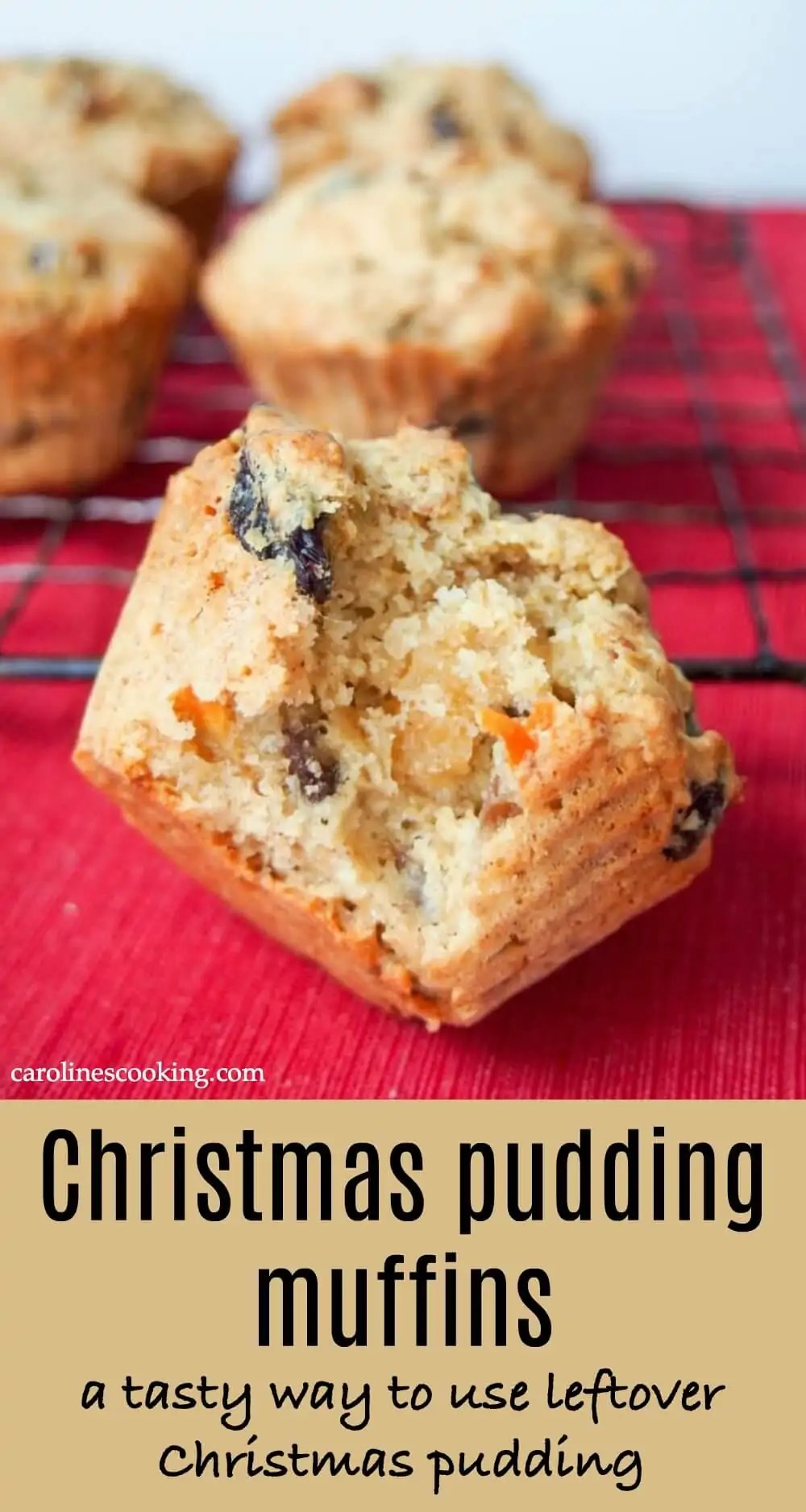 These Christmas pudding muffins are a tasty way to give leftover Christmas pudding a new lease of life. Quick, easy to make, a lovely mix of fruit and spice. #Christmaspudding #muffin #leftovers