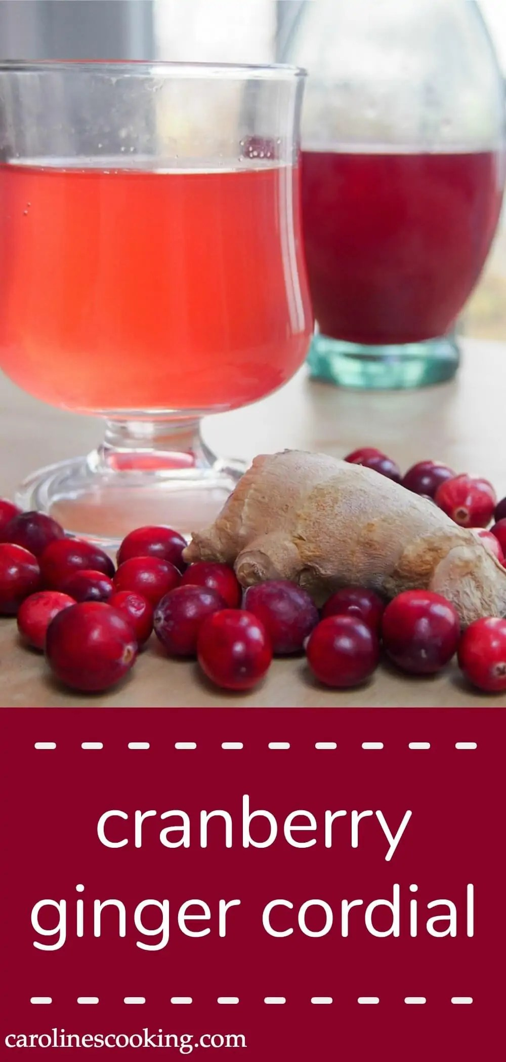 Cranberry and ginger cordial can be mixed with hot or cold water to make a refreshing drink with the tang of ginger balanced out with the fruity cranberry.