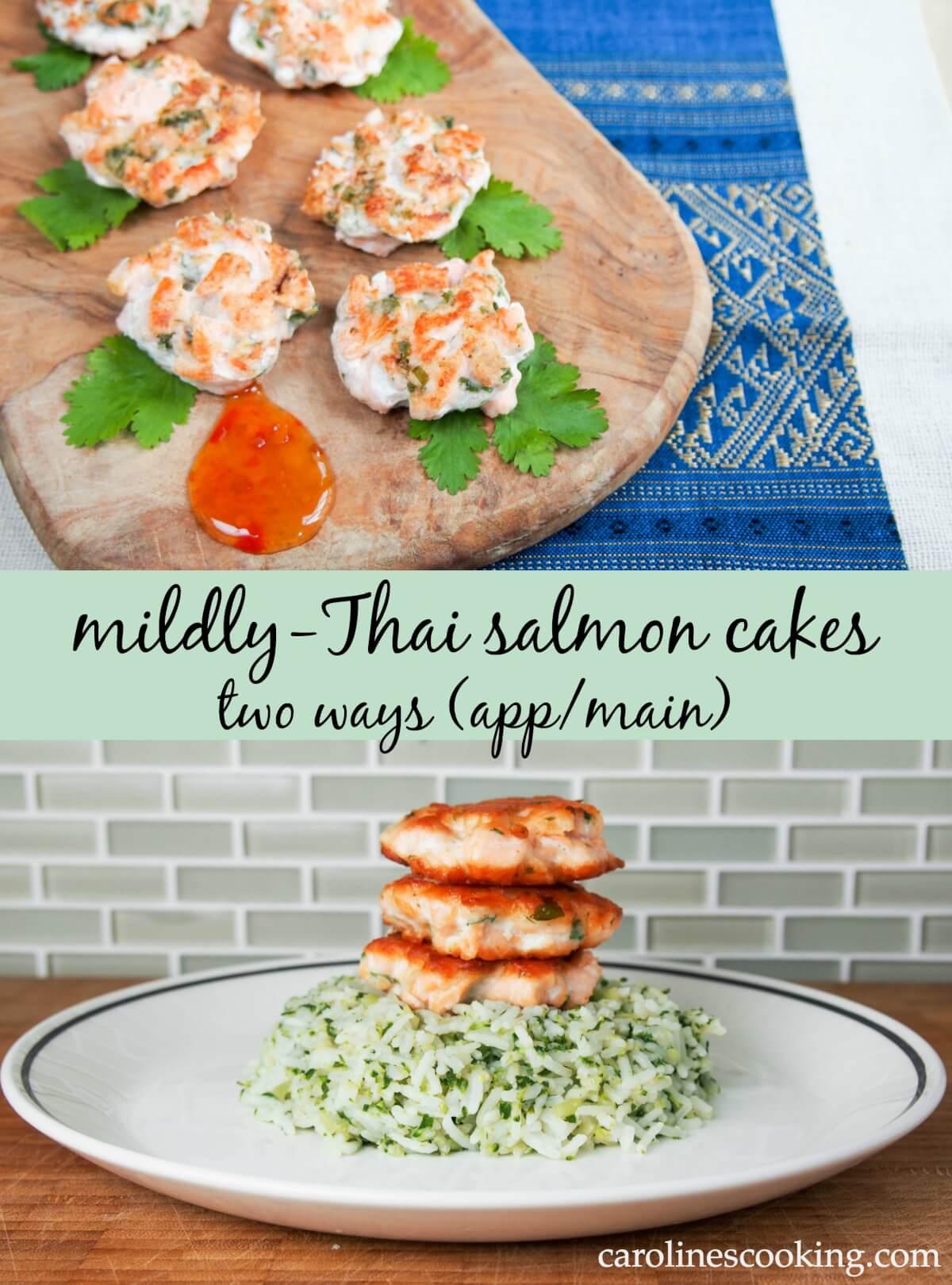 Mildly-Thai salmon cakes two ways (app/main)