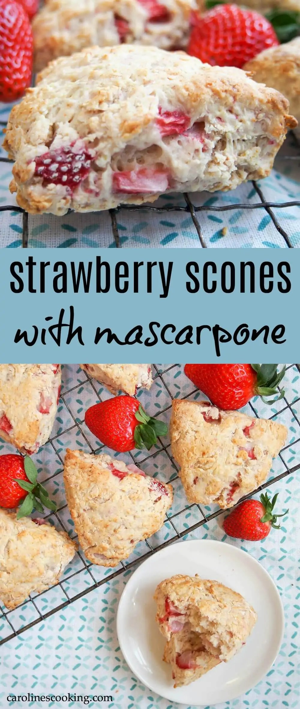 These strawberry scones are made with mascarpone and a double doze of strawberries for a wonderfully soft, fruity mouthful in every bite. Easy to make, they're a wonderful snack. #scone #strawberry #baking