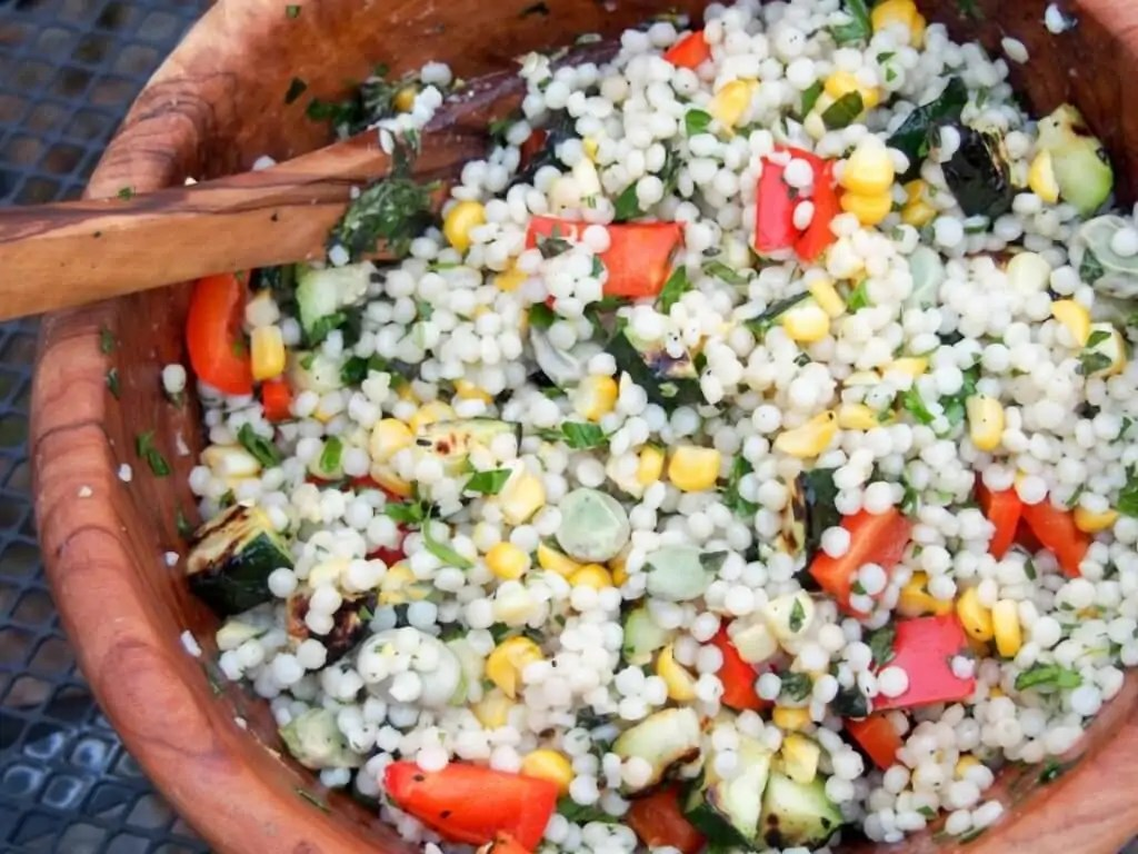Israeli couscous with grilled vegetables