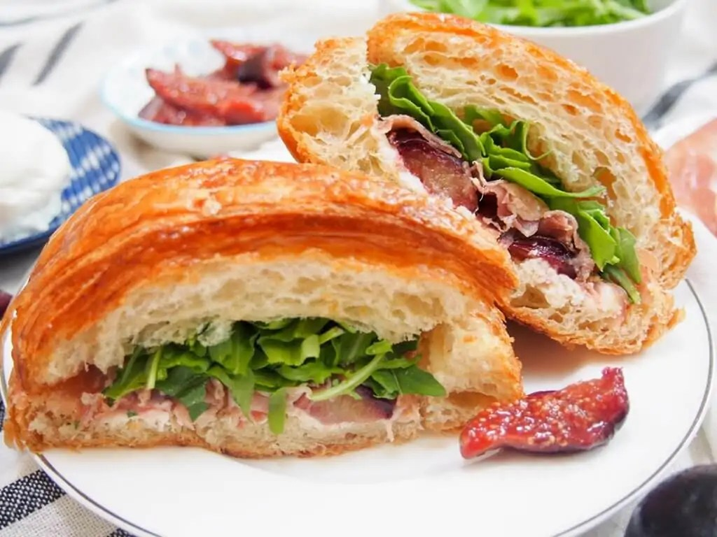 goats cheese prosciutto croissant with balsamic figs