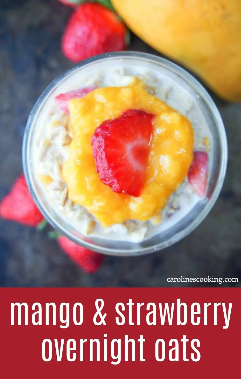 This mango and strawberry overnight oats is the perfect light breakfast for warmer weather. Deliciously smooth, creamy, fresh & fruity. And so easy to make! #mango #oats #overnightoats #breakfast