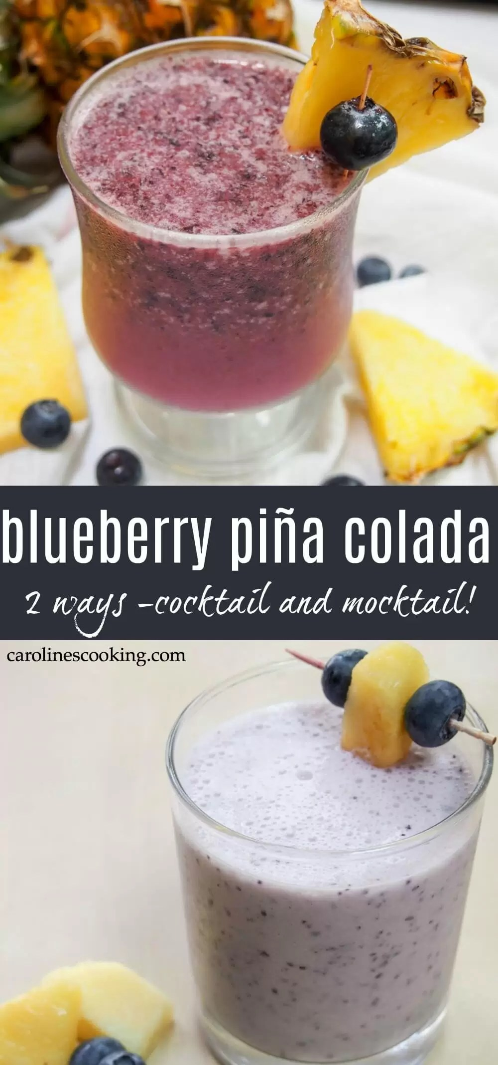 Refreshing, with a kick (or not, if you prefer a mocktail), this blueberry pina colada is a bright twist on the classic cocktail. Plus there's more than one way to make it, so pick your favorite! One is more of a blueberry take on the classic cocktail, the other closer to a smoothie. Both are delicious in their own way. #pinacolada #cocktail #mocktail
