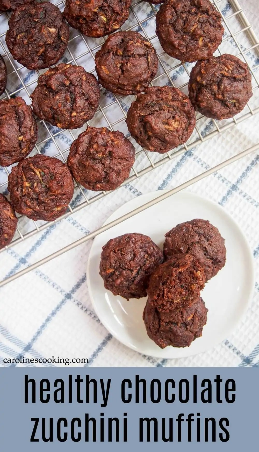 These healthy chocolate zucchini muffins are vegan and easily made gluten-free. With great ingredients, including zucchini and dates, you can feel good about enjoying them. #chocolatezucchinimuffin #healthybaking #veganmuffin