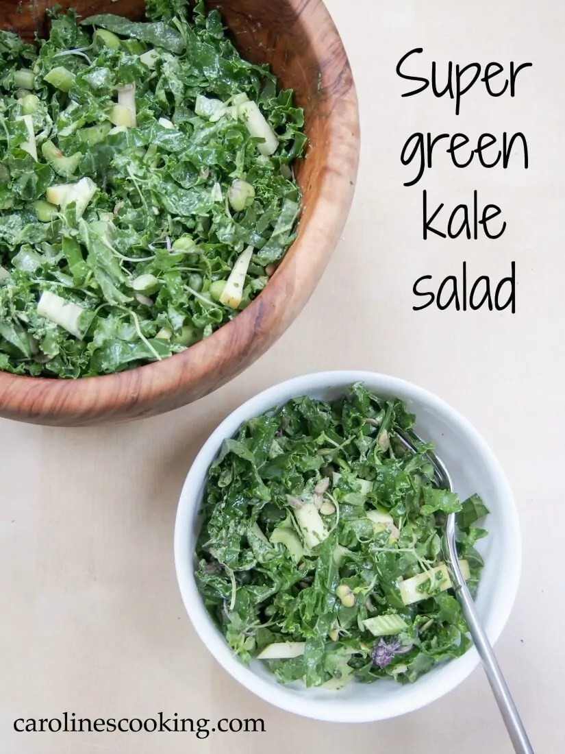 This super green kale salad is made with so many greens, from apple to edamame & seeds. They all come together to make a super healthy, tasty lunch/side salad, that's vegan too. #salad #kalesalad #vegansalad