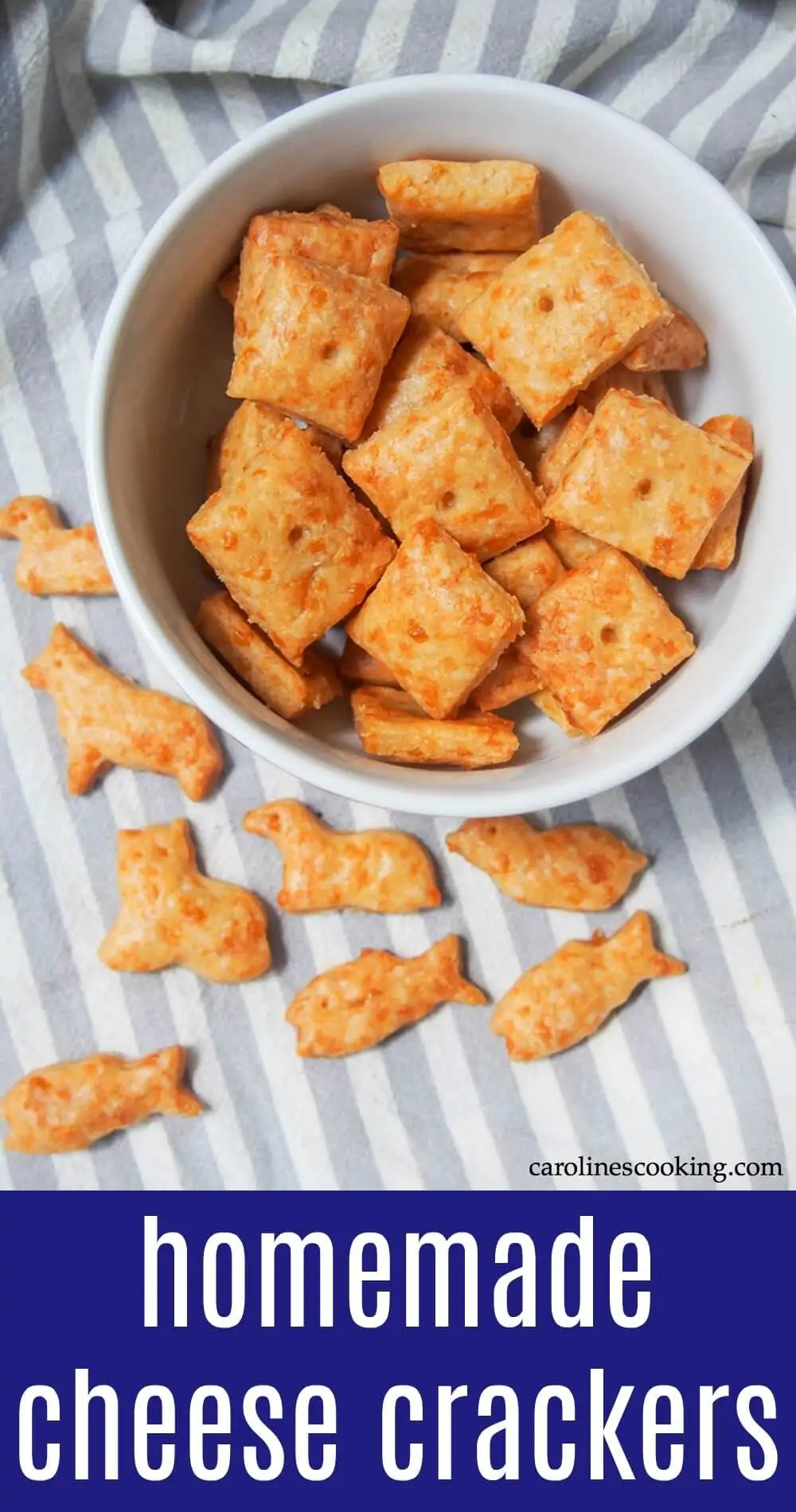 Homemade cheese crackers: Better for you than what you might find in a store, but packed with flavor, these cute little homemade cheese crackers are easy to make too. Tasty snack time awaits! They're made with whole wheat flour, baked and with minimal salt making them that bit healthier, but with plenty cheesy goodness. #cracker #cheesecracker #homamadecracker #snack
