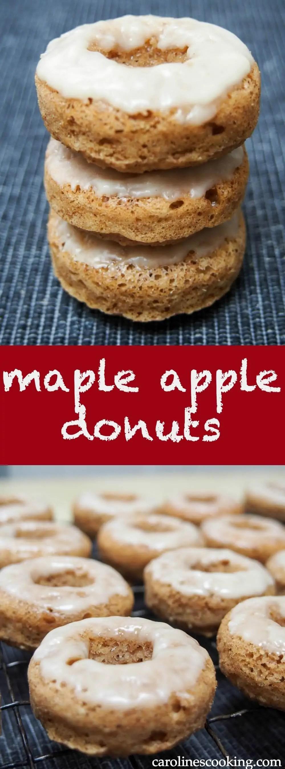 These maple apple donuts are baked rather than fried and made with oatbran, yogurt and real apple so are relatively healthy, but still incredibly delicious. A great fall flavored treat.