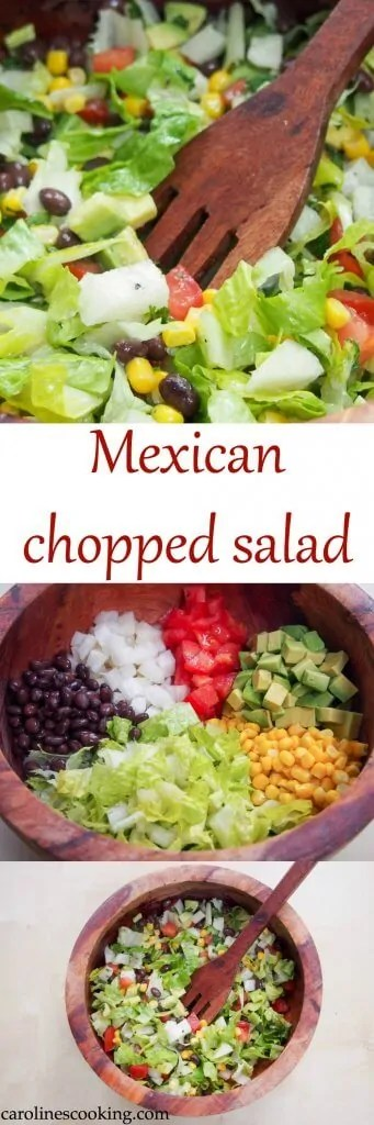 This easy Mexican chopped salad has a delicious cilantro-lime dressing to make all the crunchiness zing. Quick to make and a perfect lunch or side. #salad #vegetarian #potluck