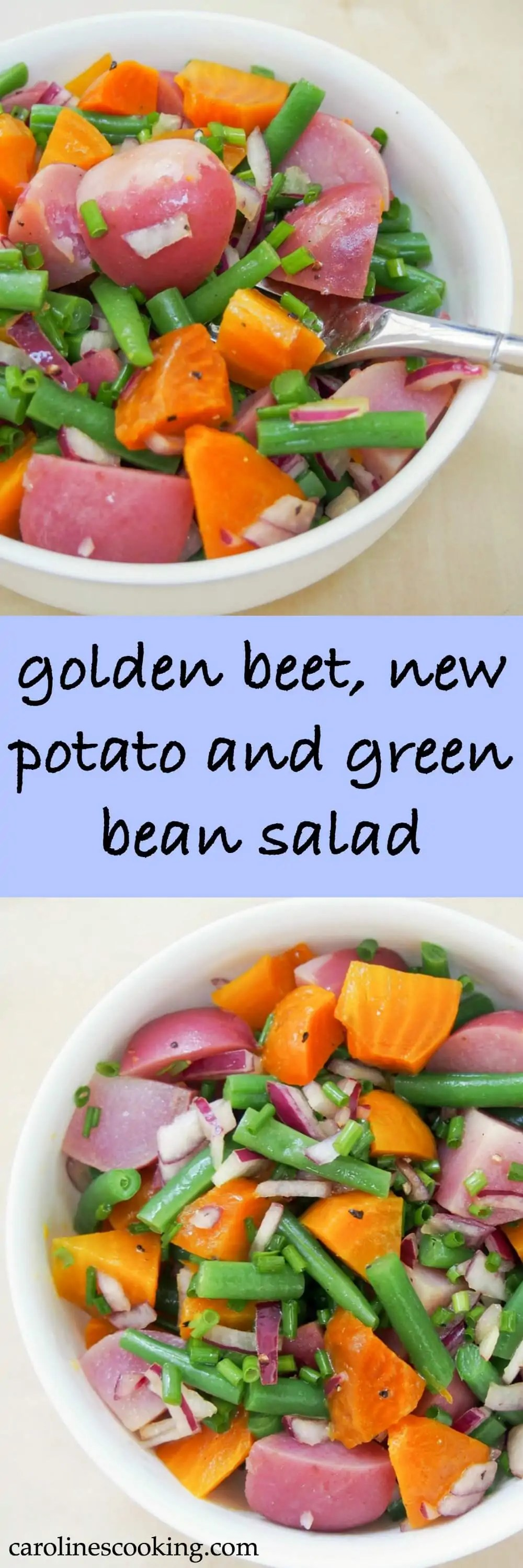 This golden beet, potato and green bean salad makes an easy and delicious side or lunch. Simple flavors, allowing the ingredients to shine, it's also perfect for your picnics and lunchboxes.