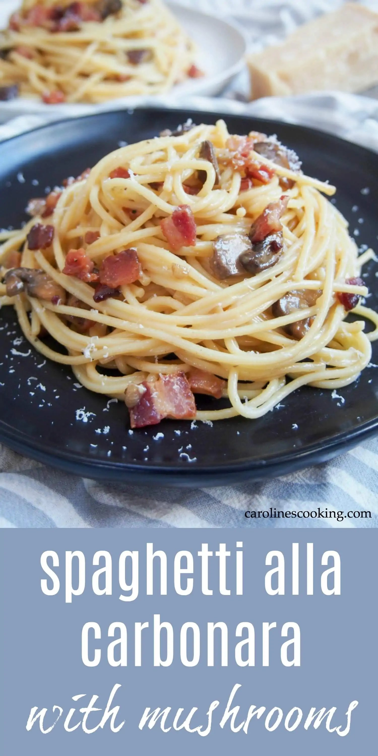Spaghetti alla carbonara, like many classic Italian pasta dishes, is definitely one of those dishes where the end result feels like so much more than the small number of ingredients that go into it. But with cheese and flavorful bacon/pancetta, how can you go wrong? It's quick to make and a wonderfully delicious dinner. #pasta #carbonara #italianrecipe