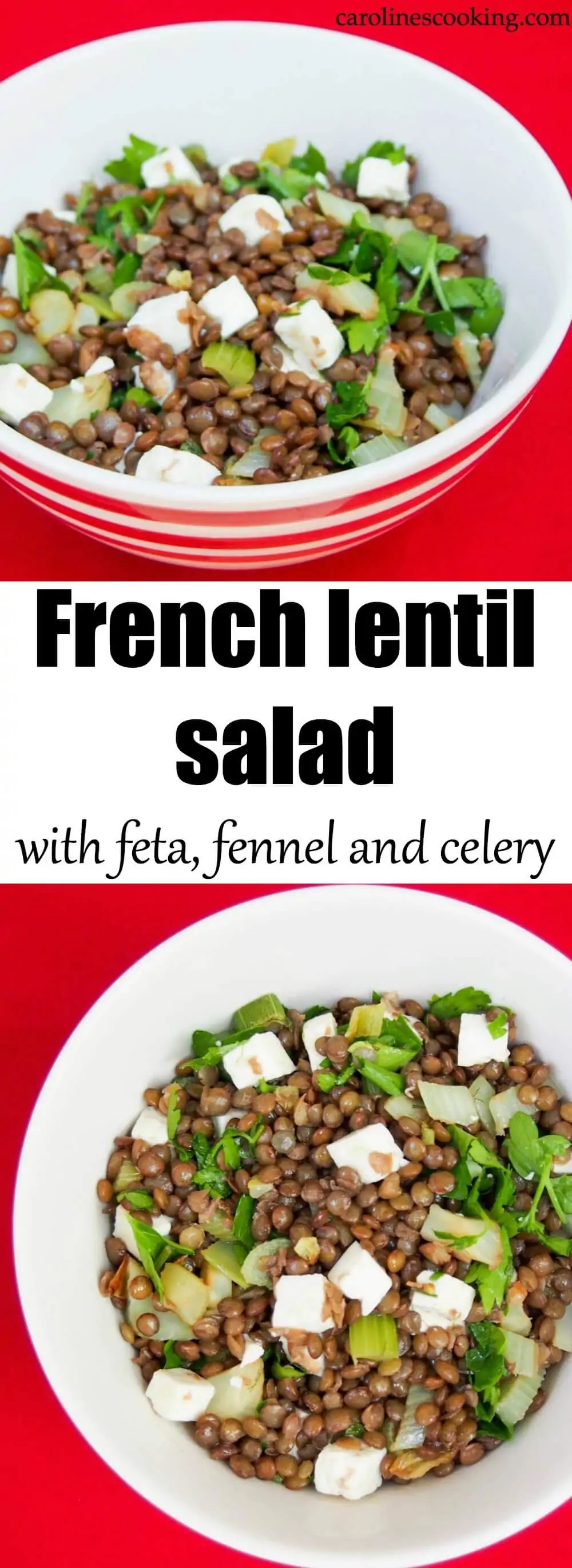 This French lentil salad with feta, fennel and celery is aromatic and flavorful. Making a hearty & healthy lunch, or side, it's also easy to make. Delicious