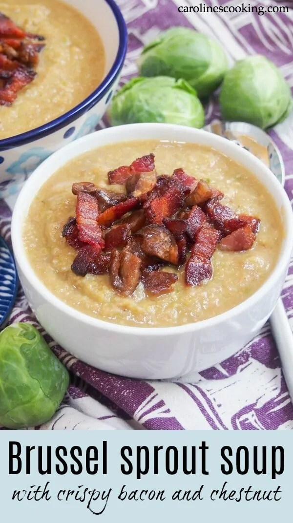 This hearty Brussel sprout soup is easy to make and delicious whether you think you're a Brussel(s) sprout fan or not. The crisp bacon and chestnut topping adds a wonderful sweet-salty flavor with every mouthful. Perfect for lunch or as an appetizer to warm you up on a cold day #Brusselssprouts #Brusselsprout #soup #bacon