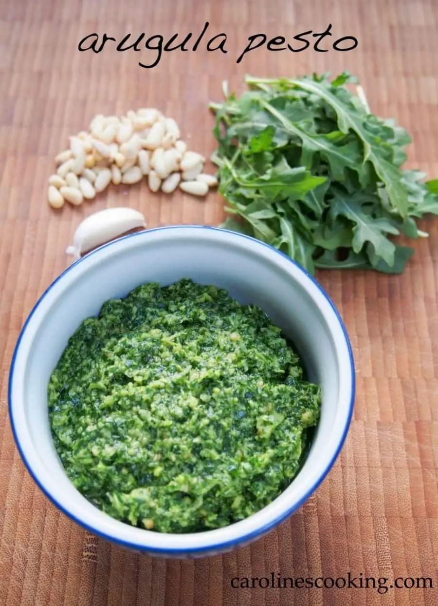 Arugula pesto is easy to make and has a delicious slight peppery taste. Perfect in pasta or spread in sandwiches. #pesto #arugula #pasta