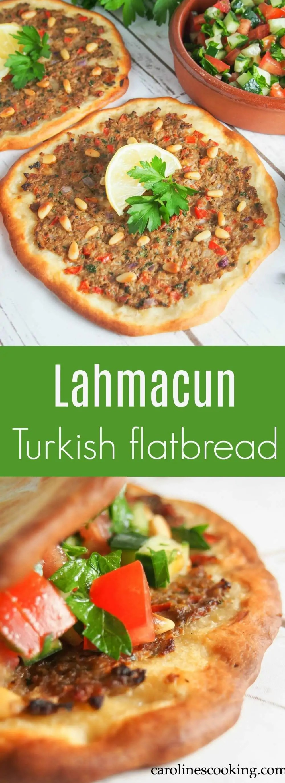 Lahmacun or Turkish flatbread is an easy and delicious dish - a thin base topped with a deliciously seasoned meaty topping. Perfect finger food. #Turkish #flatbread #pizza