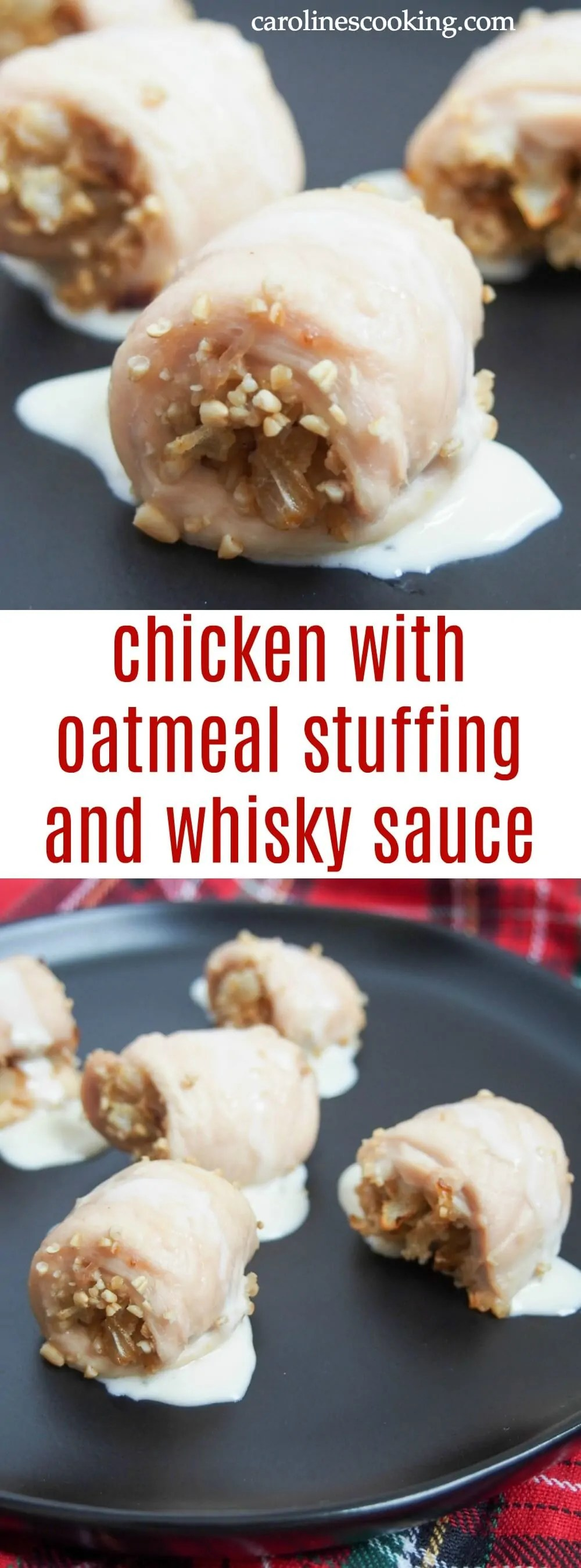 This chicken with oatmeal stuffing and whisky sauce is easy to prepare and with delicate, tasty flavors. It would be a perfect appetizer for Burns Night and so much more. #Scottish #whisky #chicken #appetizer