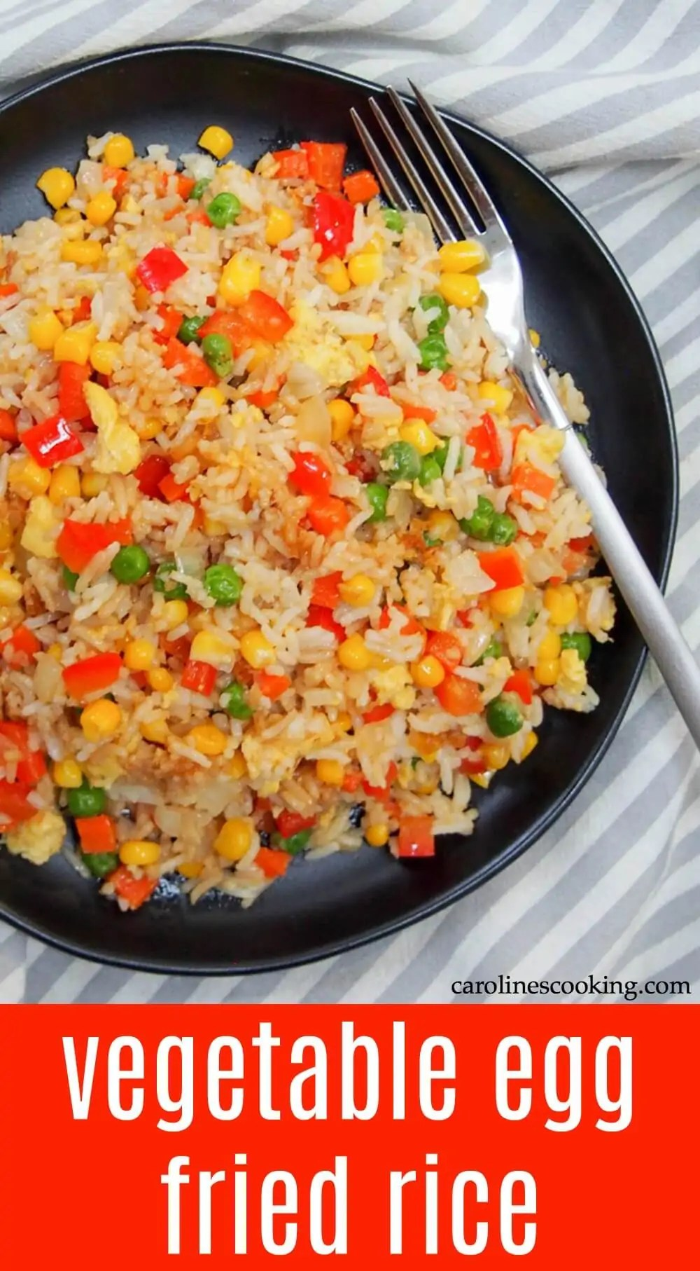 Loaded with vegetables (that you probably have hanging around the house anyway), vegetable egg fried rice is such an easy, tasty, quick and filling meal. Perfect any night! #vegetarian #chinesefood #friedrice