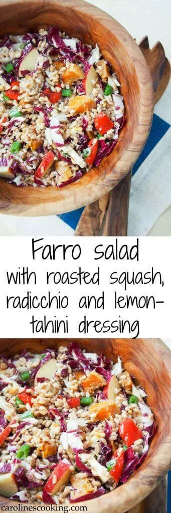 This farro salad is filled with roasted squash, radicchio, apple and more and has a delicious lemon-tahini dressing. Full of flavor, hearty and healthy. It's perfect for a packed lunch, potluck or picnic as well. #farrosalad #vegetarian #vegan #radicchio