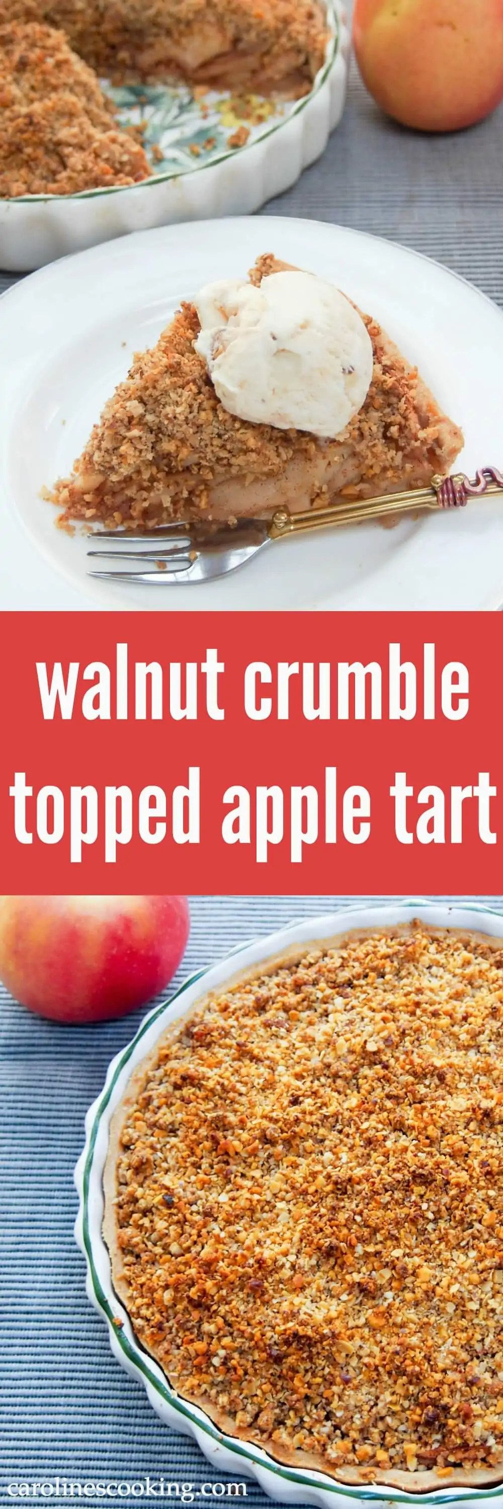 This walnut crumble topped apple tart has a delicious combination of soft cinnamony apples and crunchy, nutty topping. It's as well it's relatively healthy, as you'll be back for another slice. Fall flavors / dessert