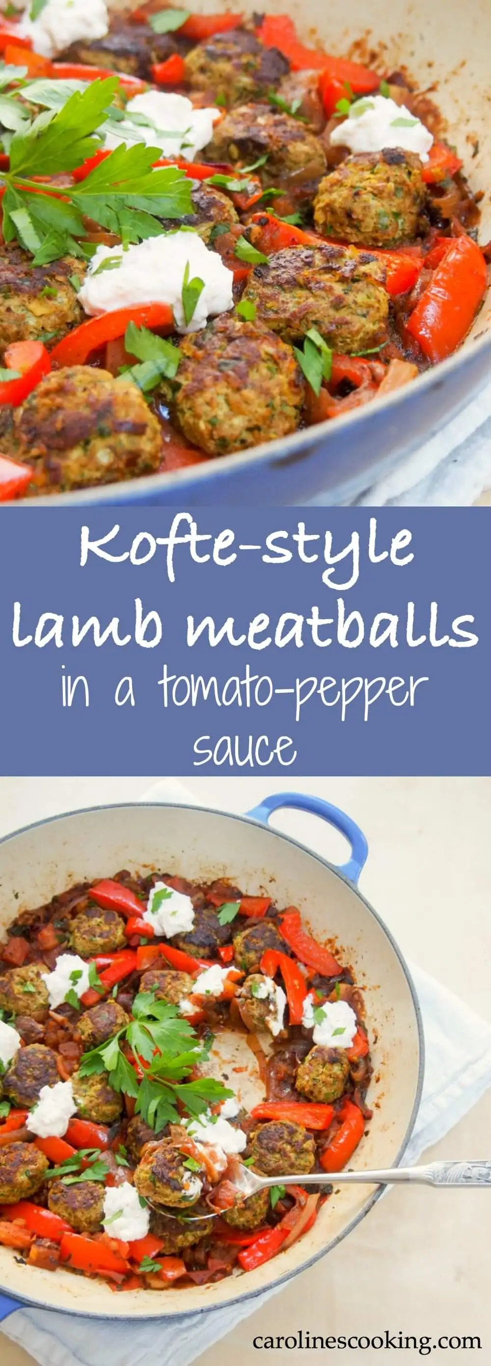 These kofte-style lamb meatballs are filled with delicious herbs, spices & pine nuts, then made better served in a tomato-pepper sauce with a feta-yogurt topping.They're great for brunch, lunch or dinner. Tasty comfort food!