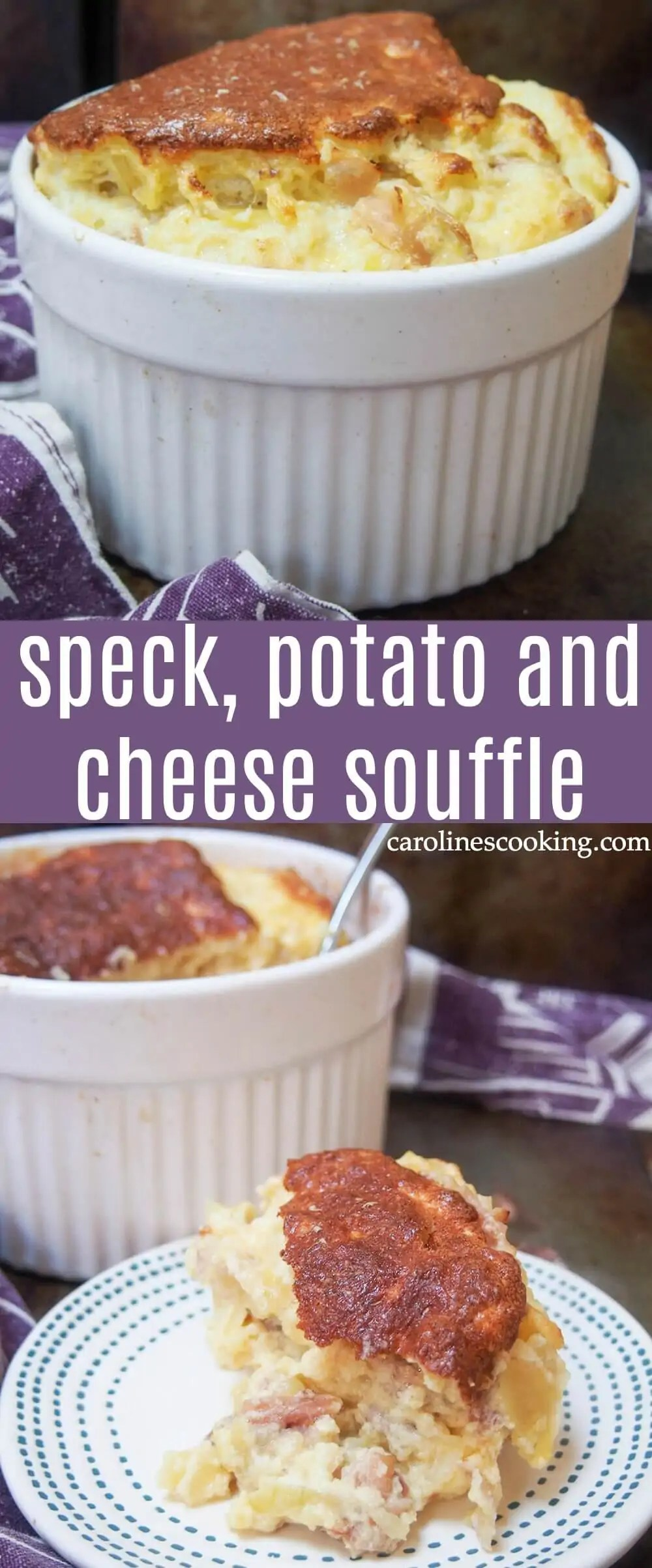 This speck, potato and cheese souffle makes relatively humble ingredients into something special and delicious, with a lovely smoky speck ham flavor coming through. This savory souffle makes a tasty lunch or light meal. #savorysouffle #cheesesouffle