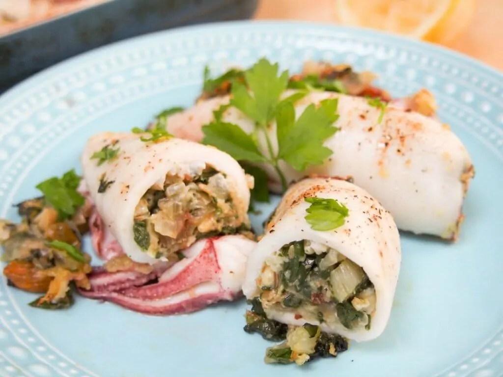 Sicilian style stuffed squid