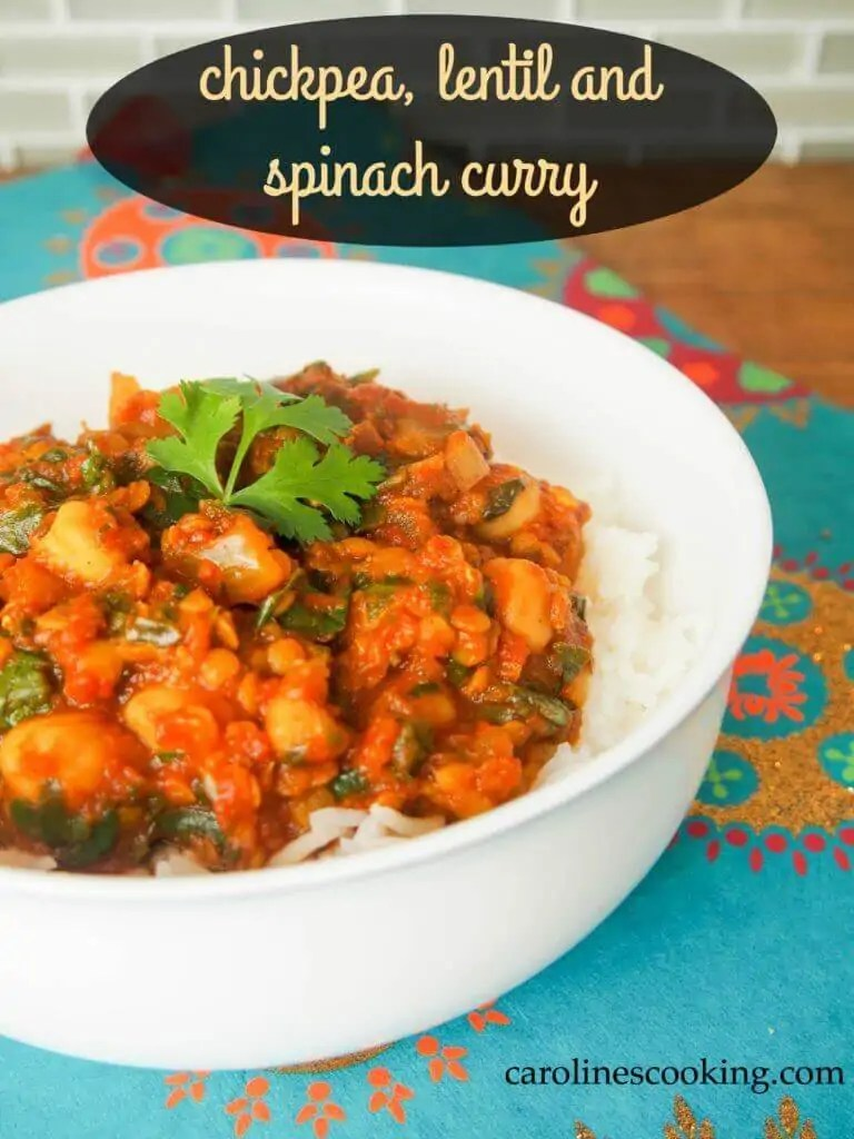Chickpea, lentil and spinach curry is an easy and flavorsome vegetarian curry - spice it up or just have it fragrant. It's hearty, healthy and delicious.