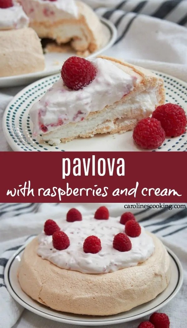 This pavlova has the best of it all - crisp outside, pillowy soft middle and topped with fresh whipped cream and juicy raspberries. Such a great dessert. Naturally gluten free and this recipe is scaled back to be perfect for a smaller group, but without losing that balance of crunch and soft middle. #pavlova #dessert #glutenfreedessert