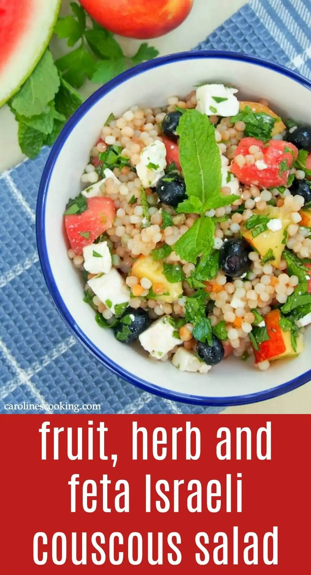 This fruit, herb and feta Israeli couscous salad is light and refreshing with fresh fruit and cooling herbs, but filling enough to be a great lunch or side. #salad #potluck #picnic #vegetarian