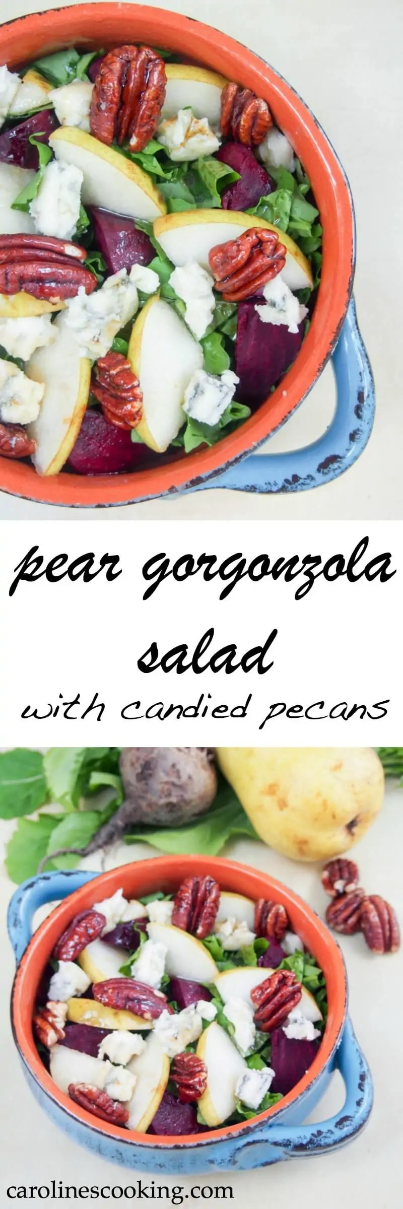 Pear gorgonzola salad with candied pecans - quick to make, only a few ingredients but full of flavor. Plus a healthier version of candied pecans to go on top making this a great healthy side or lunch.