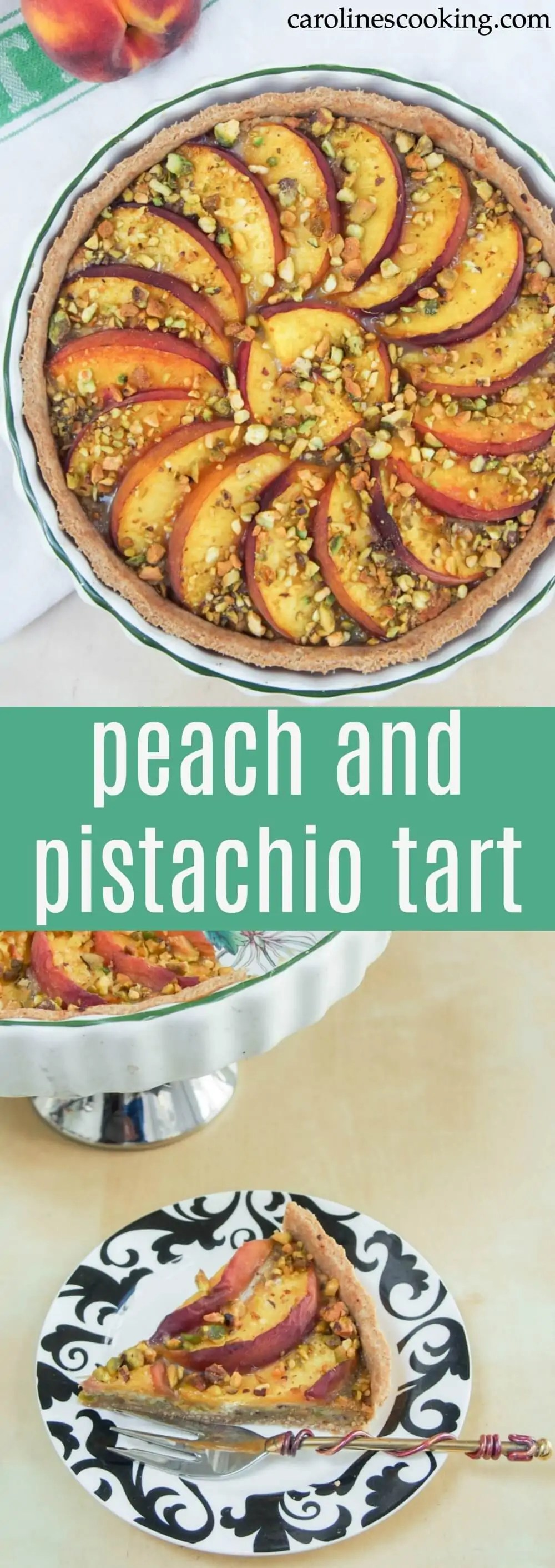 This peach and pistachio tart is a delicious summer dessert combining soft, sweet peach, a pistachio frangipane and a crisp base. And yes, it's as good as it looks.