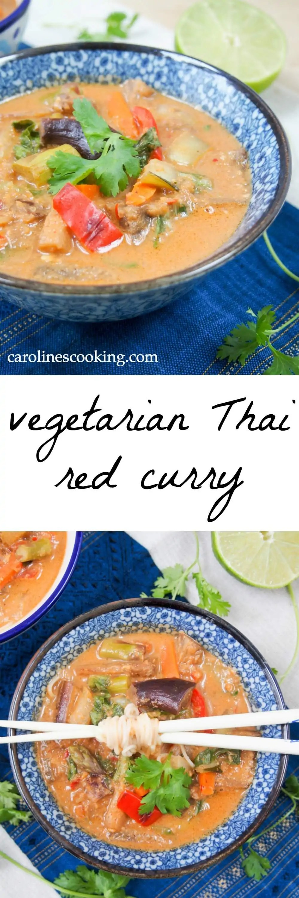 Vegetarian Thai red curry - an easy vegan curry from scratch that's full of veggies, creamy coconut and spicy flavor.