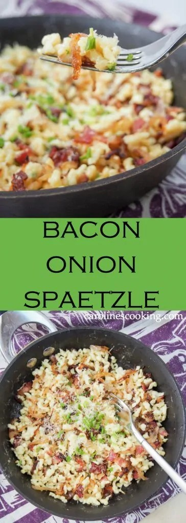 Bacon onion spaetzle in a simple but delicious combination of spaetzle (or other small pasta), bacon, caramelized onions and cheese. Perfect comfort food, it makes a delicious lunch.