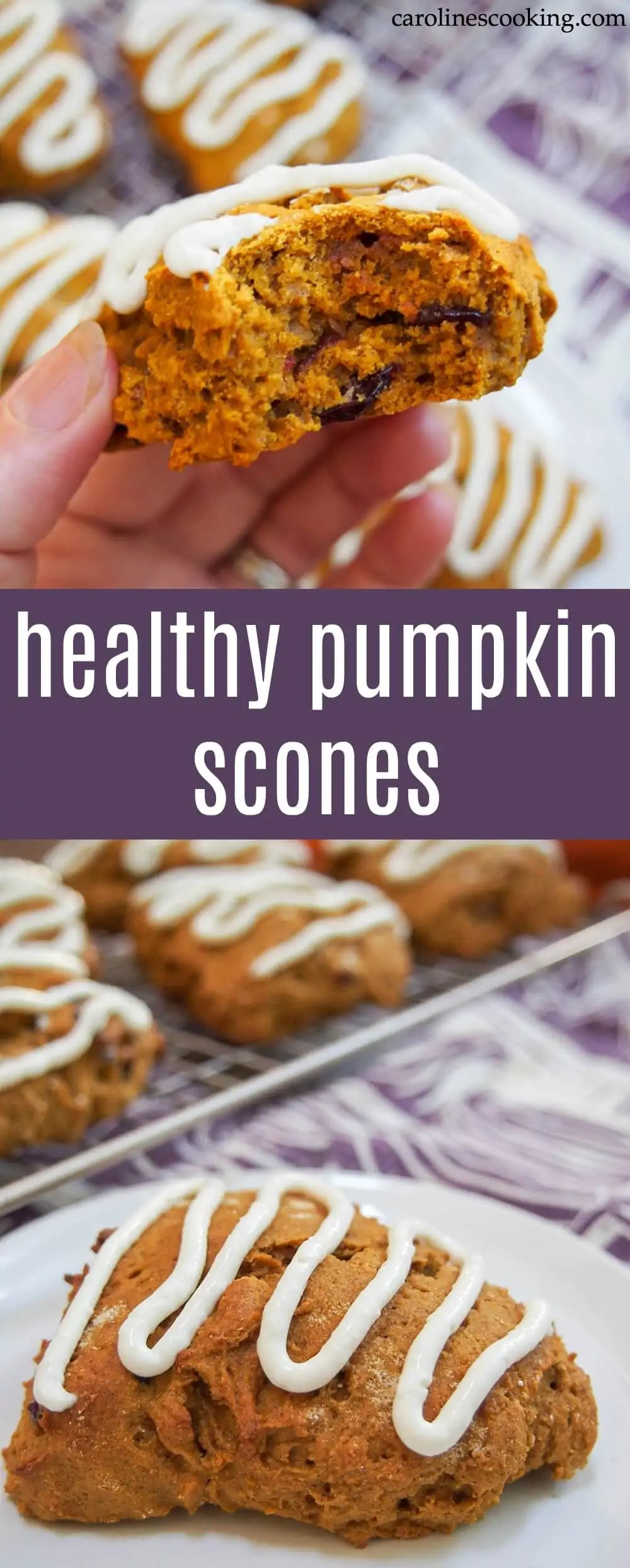These healthy pumpkin scones are wonderfully moist, gently spiced and sweet but so much better for you than your average scone. How could you go wrong?! The warm spices are a delicious taste of fall. A great easy baked treat. #pumpkin #baking #scone