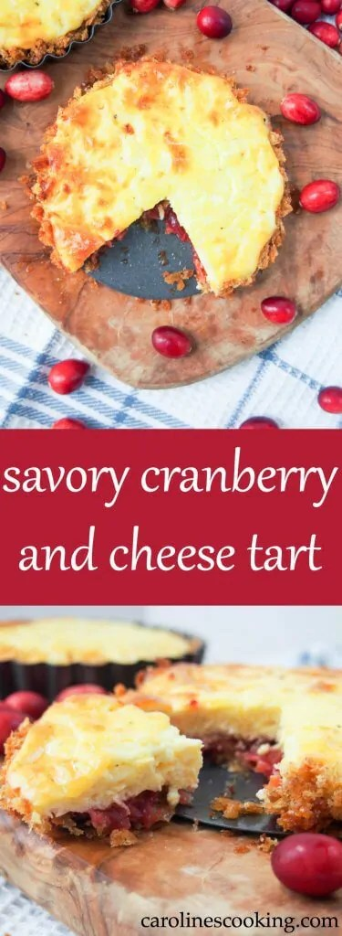 This savory cranberry and cheese tart is a great way to use Thanksgiving leftovers in a delicious new way - sweet and savory, it's easy and so good. www.carolinescooking.com