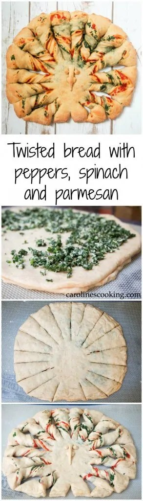 This twisted bread with peppers, spinach and parmesan is easier to make than you might think. Plus it's both adorable and delicious. A wonderful addition to your Thanksgiving table, or adapt the design to enjoy any time