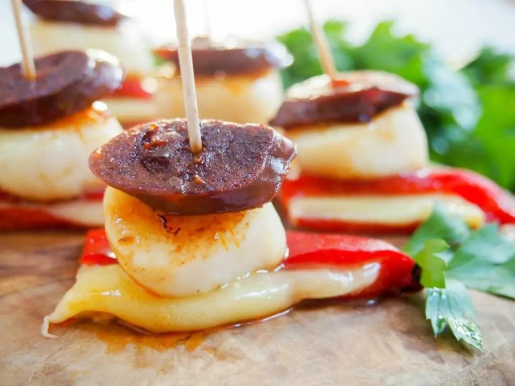 scallop and chorizo stacks
