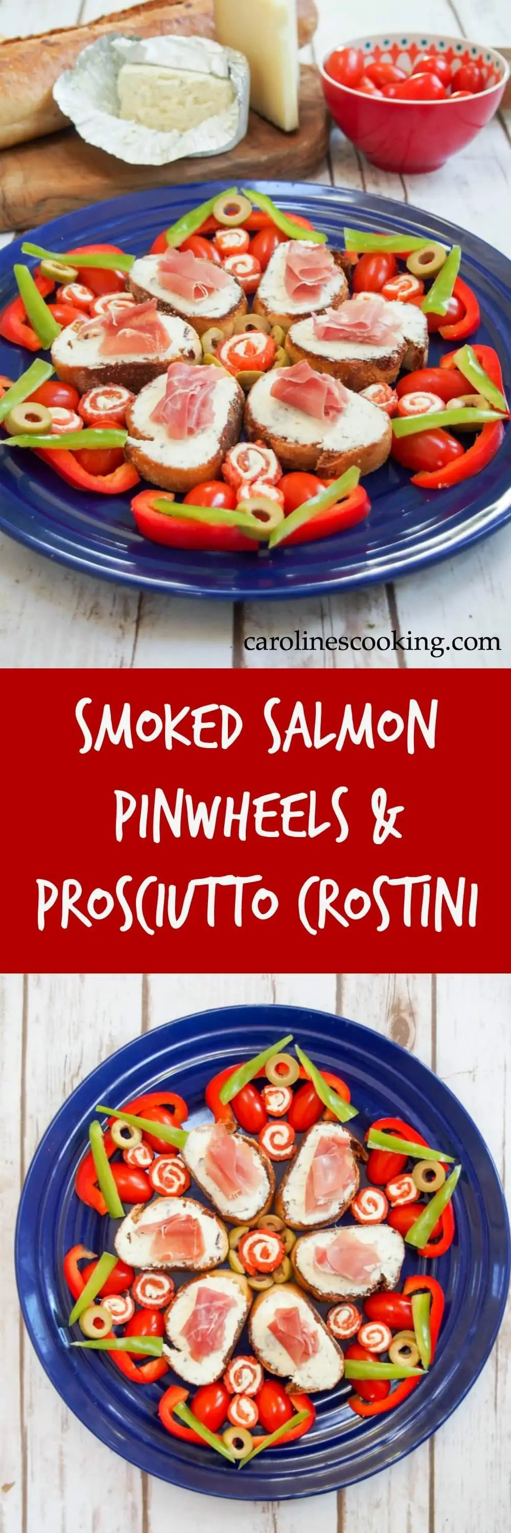 Smoked salmon pinwheels & prosciutto crostini make super simple, flavorful appetizers but can be arranged into an impressive, festive star. A perfect appetizer plate for holiday entertaining (or anytime).