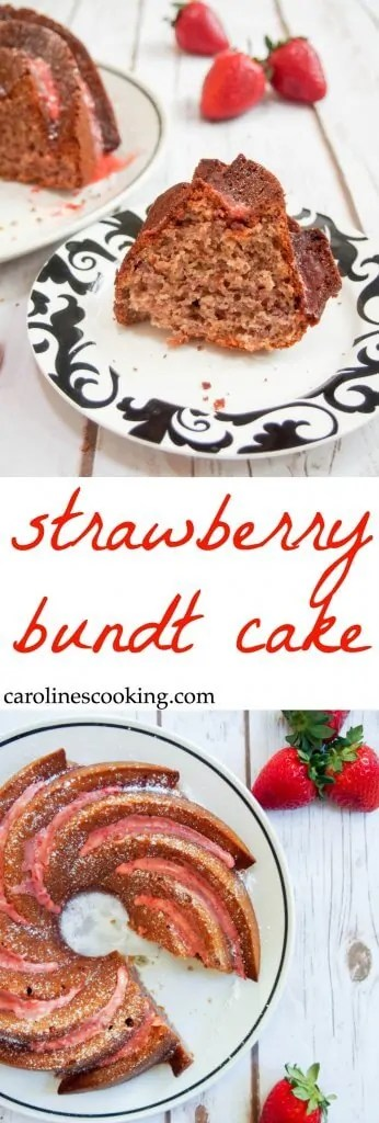 This strawberry bundt cake is made from scratch with no gelatin. Light, full of delicious strawberry flavor and topped with a beautiful strawberry-lemon glaze. Perfect for sharing with guests over the holiday season.