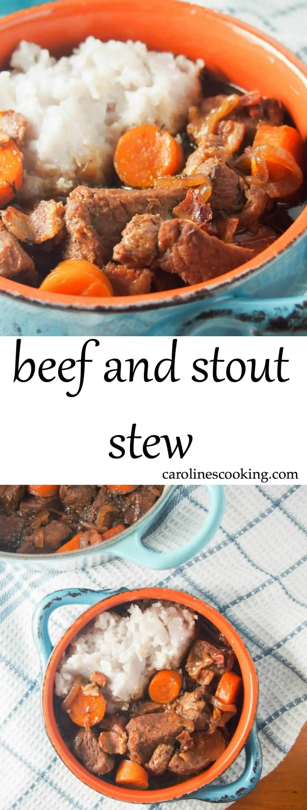 This beef and stout stew is easy to make and a hearty, comforting meal. The stout gives a wonderful rich flavor & tenderizes the beef. Great on a cold day (as well as to celebrate St Patrick's Day)