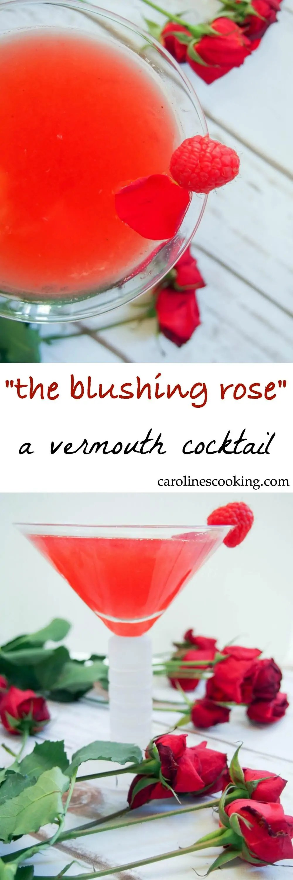 This vermouth cocktail, the blushing rose, might seem a little unusual, but it's a deliciously fragrant and flavorful drink. And perfectly pink!