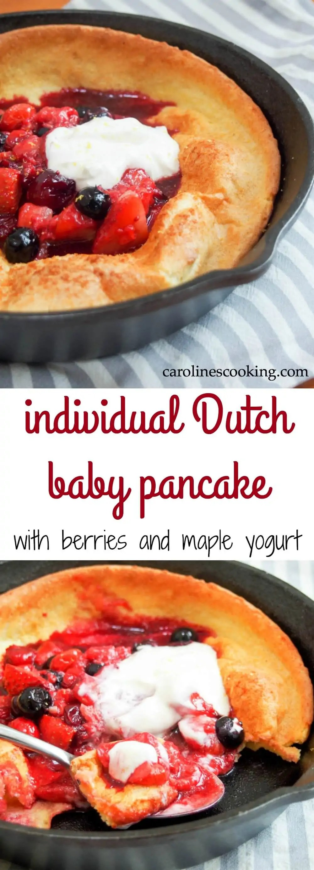 Healthy and quick enough for breakfast or brunch, sweet enough for dessert, this individual Dutch baby pancake with berries & maple yogurt is easy & delicious. No refined sugar too.